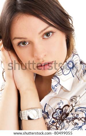 красивой европейский Постоянный рук щека Сток-фото © HASLOO