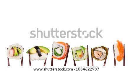 sushi · rotolare · California · bacchette · isolato · bianco - foto d'archivio © photography33