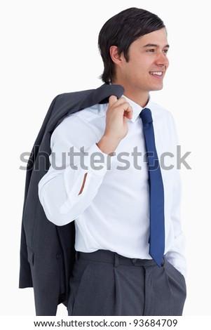 mosolyog · kereskedő · kabát · váll · fehér · férfi - stock fotó © wavebreak_media