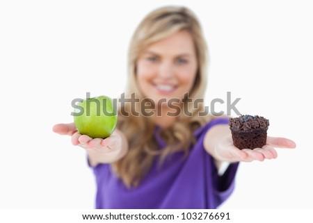 grünen · Apfel · Muffin · Frau · weiß · Essen - stock foto © wavebreak_media