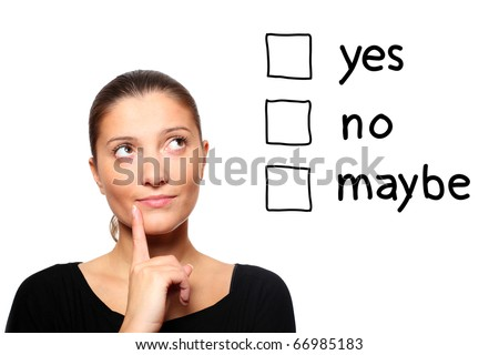 A portrait of a young woman trying to make a decision over white Stock photo © dacasdo