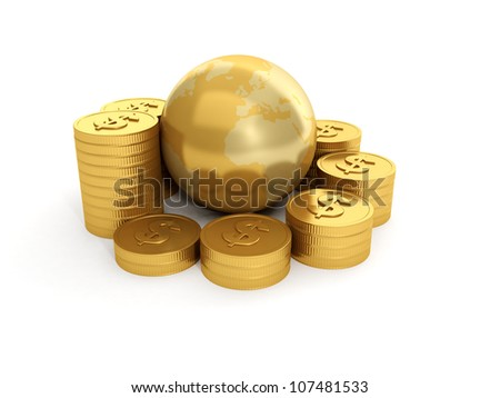 Ilustração 3d terra grupo moedas de ouro branco globo Foto stock © kolobsek