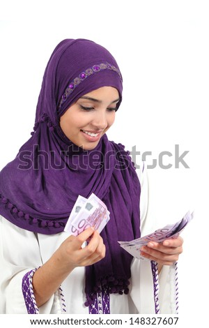 Business Woman holding and showing a lot of five hundred euro ba Stock photo © HASLOO