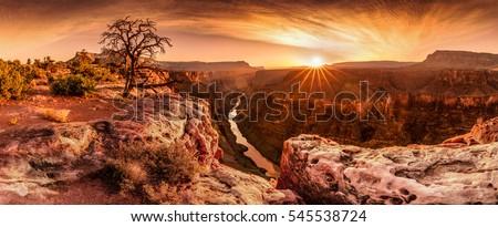 colorido · pôr · do · sol · desfiladeiro · ponto · céu - foto stock © meinzahn