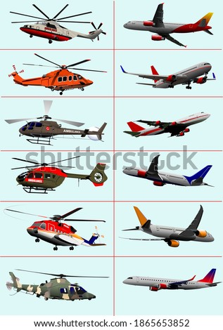 Collection of few kinds of aircraft on the air. Vector illustrat Stock photo © leonido
