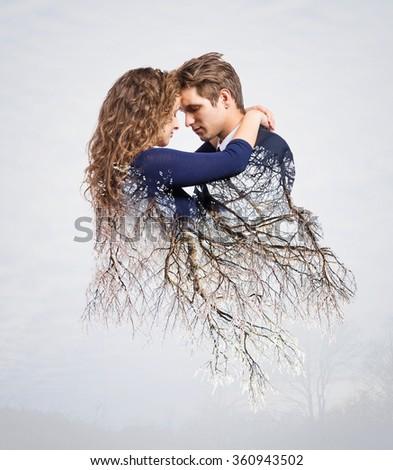 double exposure of lovely romantic couple in nature for valentin stock photo © zurijeta