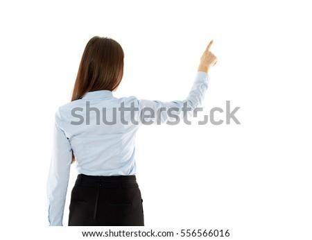 Fiatal üzletasszony kisajtolás virtuális gomb izolált Stock fotó © Elnur