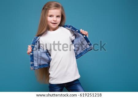 愛らしい · かわいい · 女の子 · 白 · シャツ · ジャケット - ストックフォト © traimak