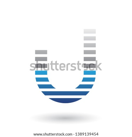 Grey and Blue Letter U Icon with Horizontal Thin Stripes Vector  Stock photo © cidepix