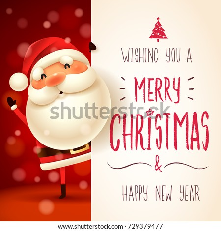 Santa Claus with big signboard. Merry Christmas lettering design. Creative typography for holiday gr Stock photo © ikopylov