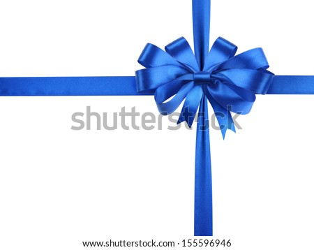 Blue ribbon tied in a bowknot isolated on white background. Vector cartoon illustration closeup. Stock photo © Lady-Luck
