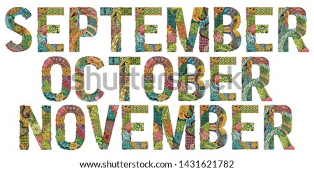 Word SEPTEMBER for coloring. Vector decorative zentangle object Stock photo © Natalia_1947