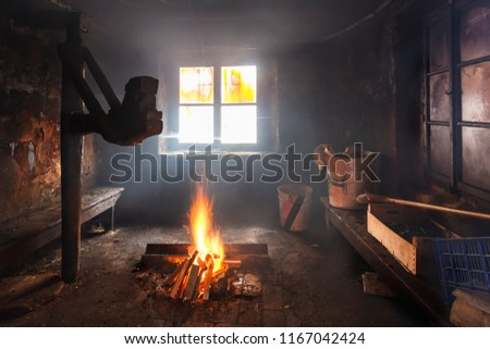 Cheese in smokehouse Stock photo © grafvision