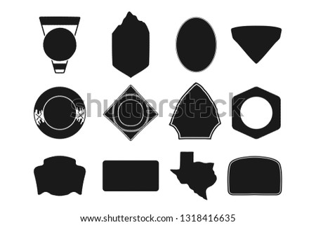 Set of black camping badge shapes. Included Texas state silhouette icon. Stock Objects isolated on w Stock photo © JeksonGraphics