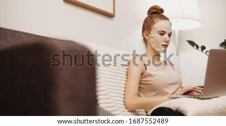 Young woman in bedroom at home wearing in white check pregnant test Stock photo © Lopolo