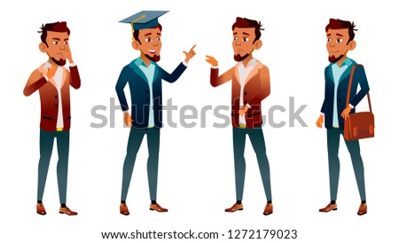 Arab, Muslim Teen Boy Poses Set Vector. Pretty, Youth. Exam, College, University. For Postcard, Anno Stock photo © pikepicture