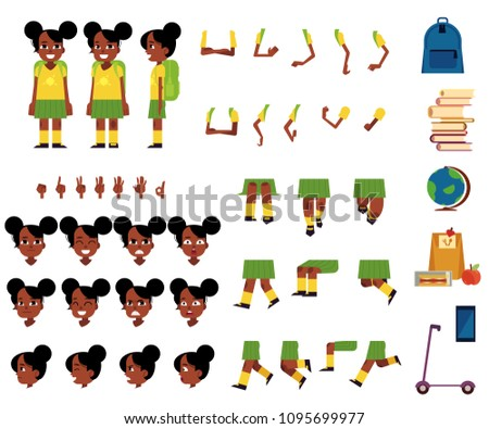 Girl Kindergarten Kid Vector. Animation Creation Set. Black. Afro American. Emotions, Gestures. Baby Stock photo © pikepicture