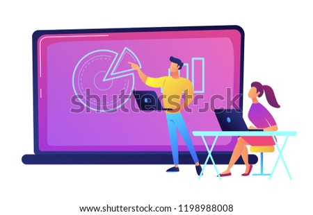 Student sitting in front of big laptop and listening to lector vector illustration. Stock photo © RAStudio
