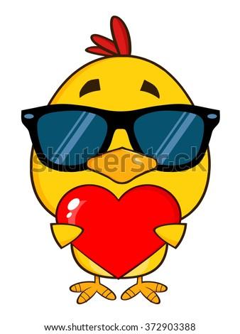 Sarı civciv güneş gözlüğü valentine Stok fotoğraf © hittoon