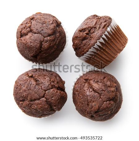 eigengemaakt · chocolade · muffins · eenvoudige · dessert · papier - stockfoto © peteer