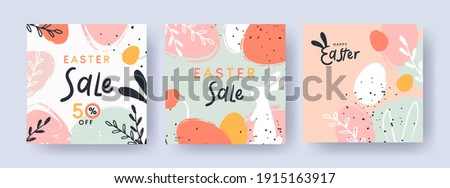 easter sale illustration with color painted egg and spring flower on cloudy sky background vector h stock photo © articular