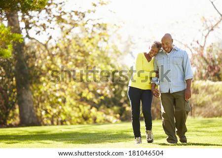 Senior couple walking together in the park Stock photo © Kzenon