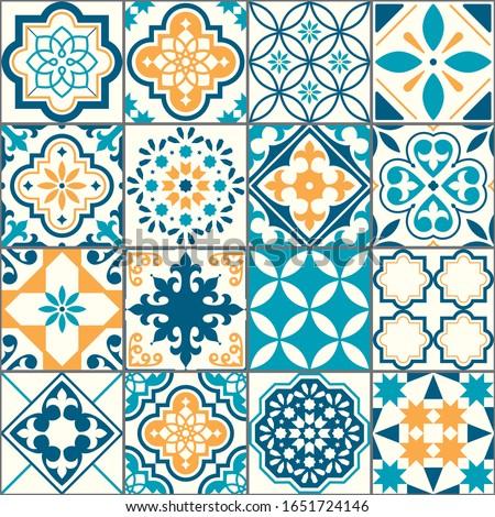 Lisbon Azujelo vector seamless tiles design - Portuguese retro gray pattern, tile big collection Stock photo © RedKoala