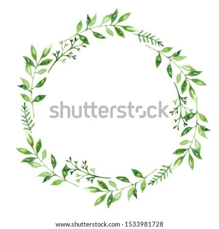 Mutlu yıldönümü çelenk kart suluboya yeşil yaprakları Stok fotoğraf © frimufilms