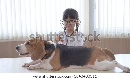 little girl at the veterinary doctor with her puppy dog asleep o stock photo © ilona75