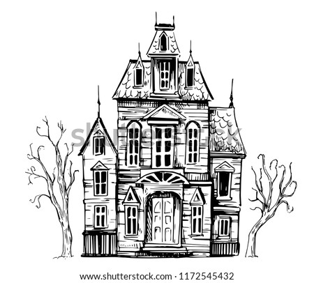 Halloween Haunted House Cartoon in Outline Stock photo © Krisdog