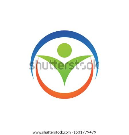 Happy kid child in circle logo, Stock Vector illustration isolated on white background Stock photo © kyryloff