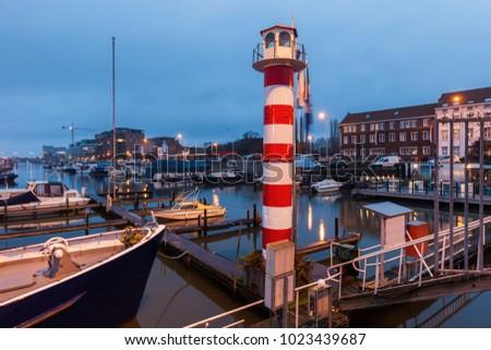 Farol noite região Bélgica azul viajar Foto stock © benkrut