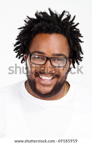 happy funny african american man headshot over white in studio stock photo © Lopolo