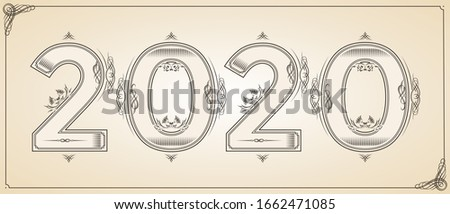 Number 2020 year patterned with floral shapes, isolated on white. 2019 for decorate calendar, banner Stock photo © Designer_things