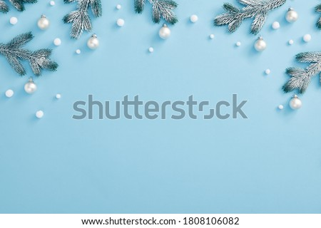 Simple Christmas tree in snow with baubles and christmas decorat Stock photo © lovleah