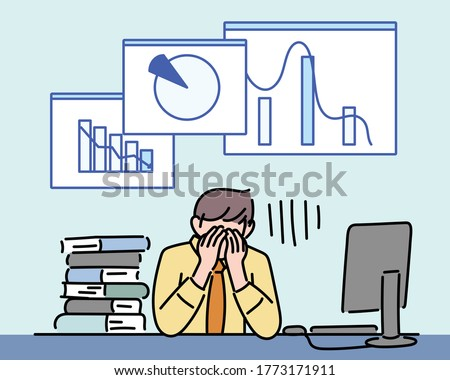 Stressed Businessman In Front Of Laptop At Desk Stock photo © AndreyPopov