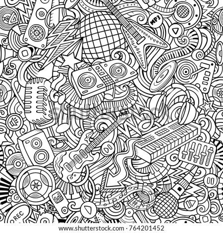 Cartoon line art doodles Disco music illustration Stock photo © balabolka