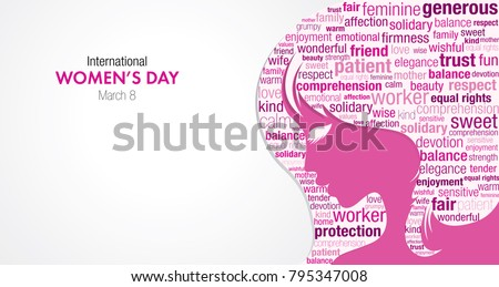 lovely womens day background with face and female symbol Stock photo © SArts