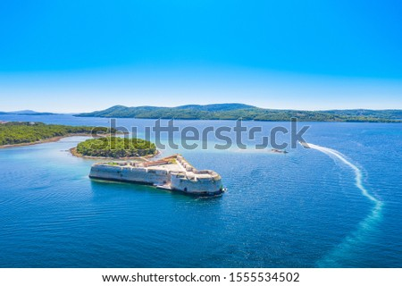 Saint Nikola fortress and Sibenik bay entrance aerial panoramic  Stock photo © xbrchx