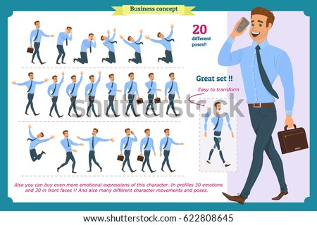Set of businessman character poses, gestures and actions. Office worker professional Stock photo © robuart