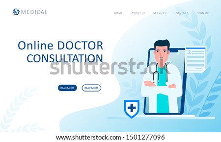 Clinic Service Online, Doctor Researching Vector Stock photo © robuart