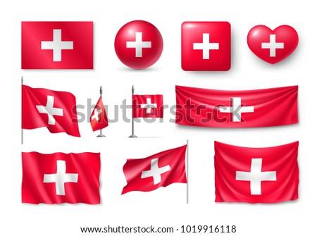Vetor conjunto bandeira Suíça criador Foto stock © butenkow