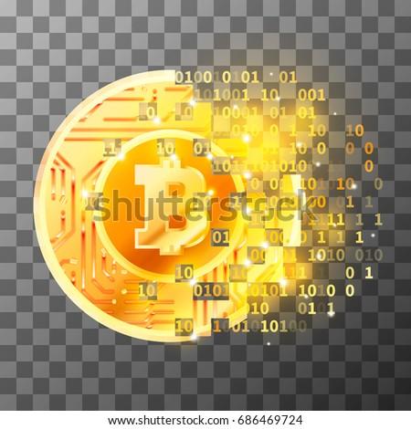 Fényes arany érme mikrocsip minta bitcoin Stock fotó © evgeny89