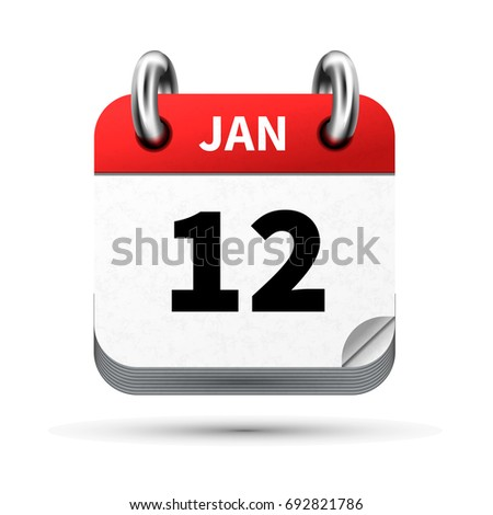 Bright realistic icon of calendar with 12 january date isolated on white Stock photo © evgeny89
