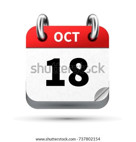 Heldere realistisch icon kalender 18 datum Stockfoto © evgeny89