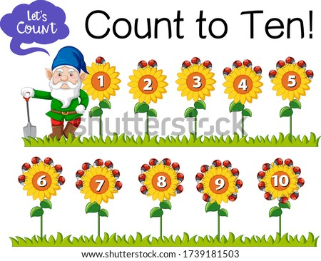Count the number one to ten with gnome and sunflower on white ba Stock photo © bluering
