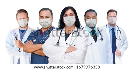 Variety of Medical Healthcare Workers Wearing Medical Face Masks Stock photo © feverpitch