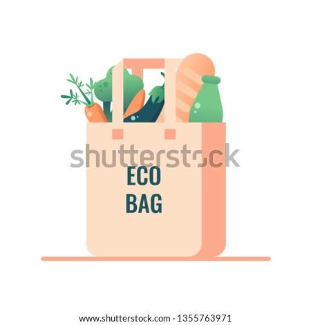 Reusable grocery bags with bread, zero waste shopping. Zero waste concept Stock photo © galitskaya