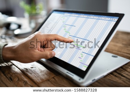 Convertible Laptop Gantt Chart Software Stock photo © AndreyPopov