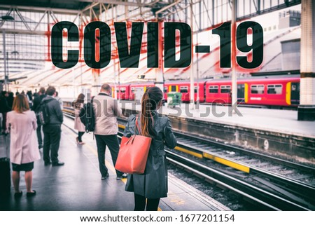 Coronavirus COVID-19 travel people crowd waiting at train station with SOCIAL DISTANCING text backgr Stock photo © Maridav